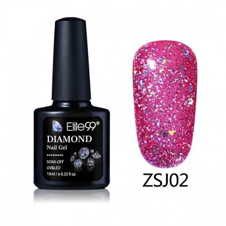 Elite99 Diamond Glitter gelinis lakas 10ml (ZSJ02)
