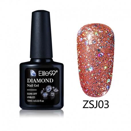 Elite99 Diamond Glitter gelinis lakas 10ml (ZSJ03)