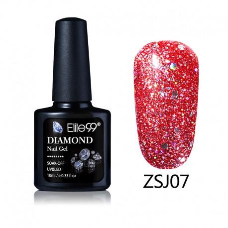 Elite99 Diamond Glitter gelinis lakas 10ml (ZSJ07)