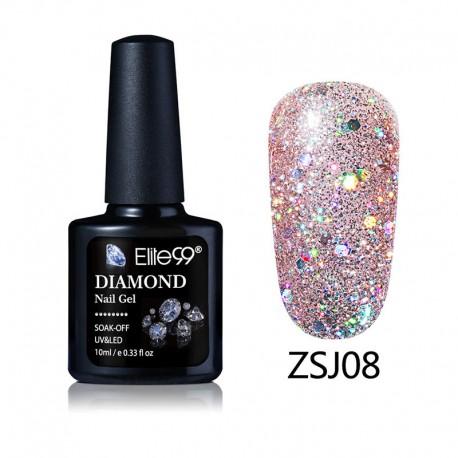 Elite99 Diamond Glitter gelinis lakas 10ml (ZSJ08)