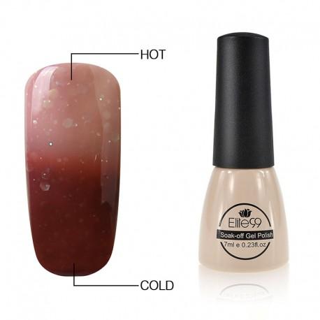 Elite99 Termo gelinis lakas 7ml (9041) Glitter Nude Brown/Dark Brown