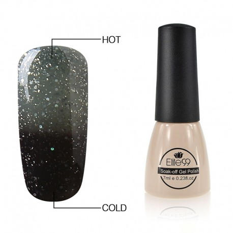 Elite99 Termo gelinis lakas 7ml (9046) Glitter Grey/Black
