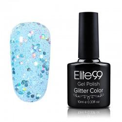 Elite99 Glitter gelinis lakas 10ml (GC003) Pinkish Blue