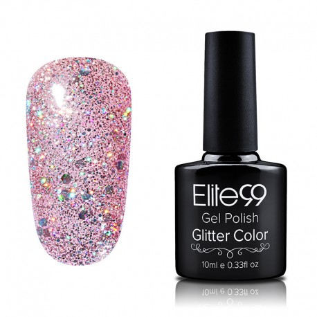 Elite99 Glitter gelinis lakas 10ml (GC004) Misty Rose