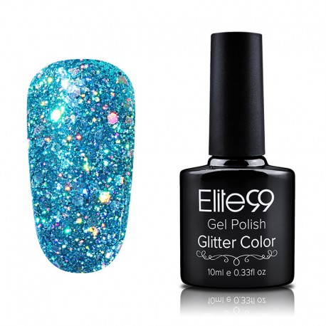 Elite99 Glitter gelinis lakas 10ml (GC009) Bluish Green