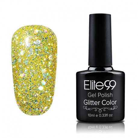 Elite99 Glitter gelinis lakas 10ml (GC010) Yellow