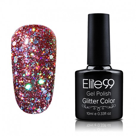 Elite99 Glitter gelinis lakas 10ml (GC015) Maroon