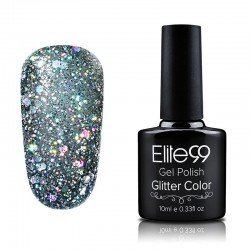 Elite99 Glitter gelinis lakas 10ml (GC024) Dark Grey