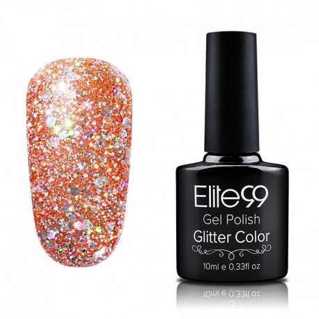 Elite99 Glitter gelinis lakas 10ml (GC028) Vermillion Orange