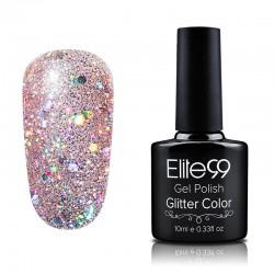 Elite99 Glitter gelinis lakas 10ml (GC029) Clear Pink