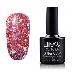 Elite99 Glitter gelinis lakas 10ml (GC031) Fiery Red