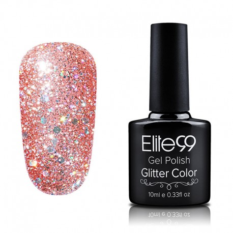 Elite99 Glitter gelinis lakas 10ml (GC034) Dark Salmon