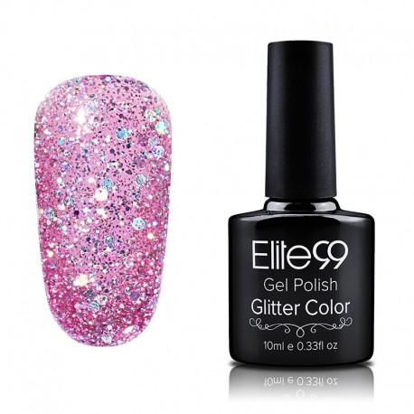 Elite99 Glitter gelinis lakas 10ml (GC041) Pink